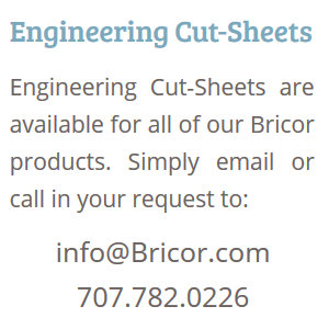 Bricor Low Flow Shower Engineering Cut Sheets